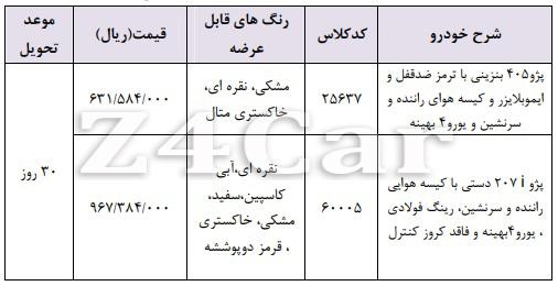 شرایط فروش نقدی محصولات ایران خودرو سه شنبه 31 اردیبهشت 98
