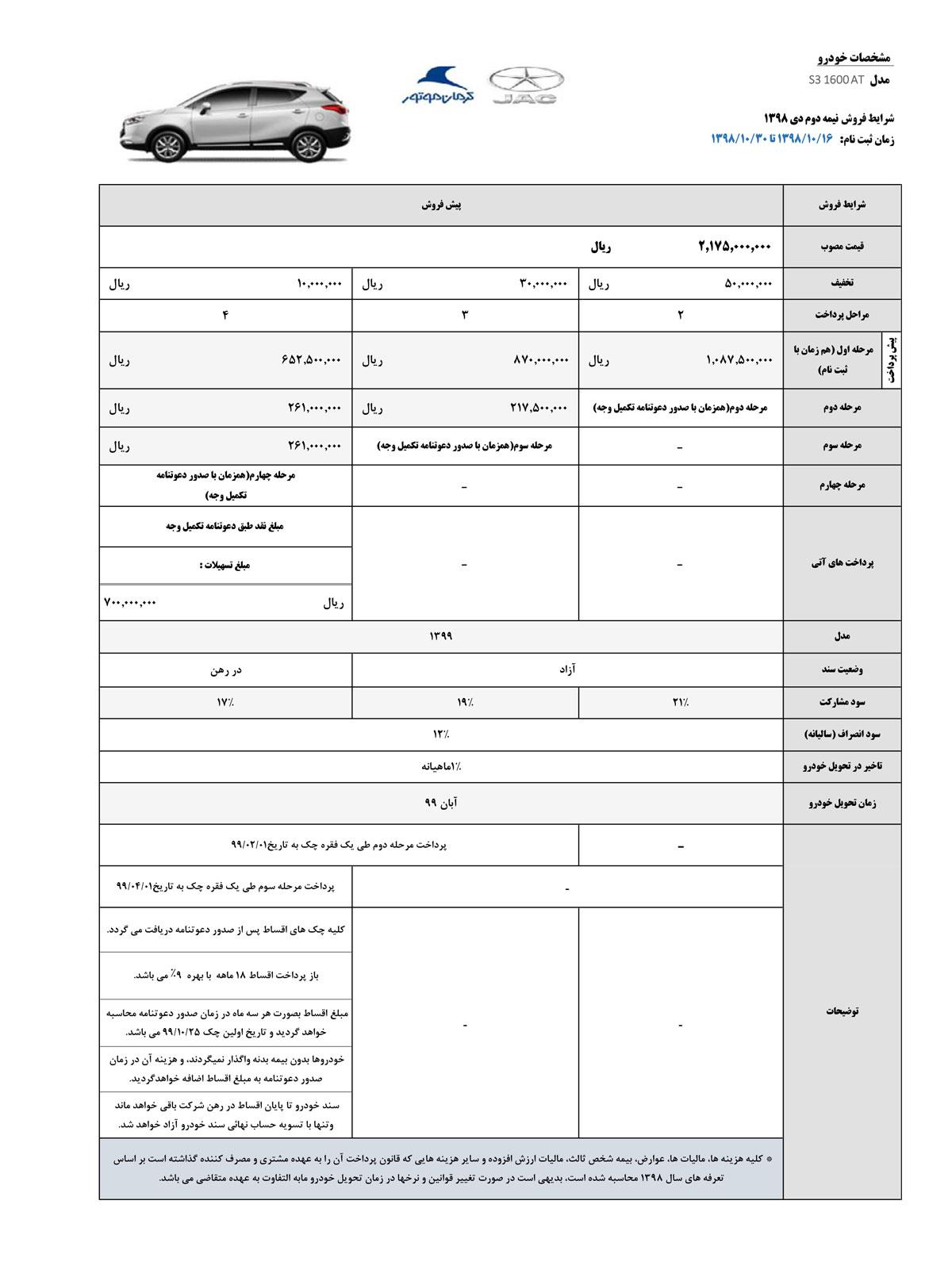 شرایط فروش جک S3 کرمان موتور ویژه نمیه دوم دی ماه 98