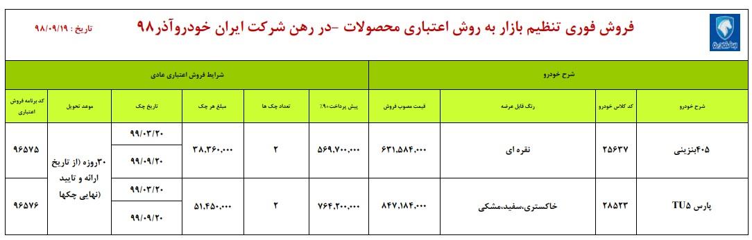 فروش اقساطی ایران خودرو / سه شنبه 19 آذر 98
