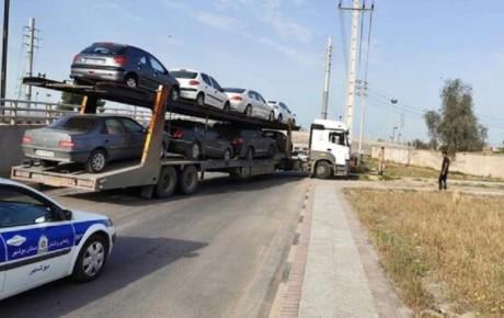 توقیف یک دستگاه تریلر با ۸ خودرو پلاک تهران