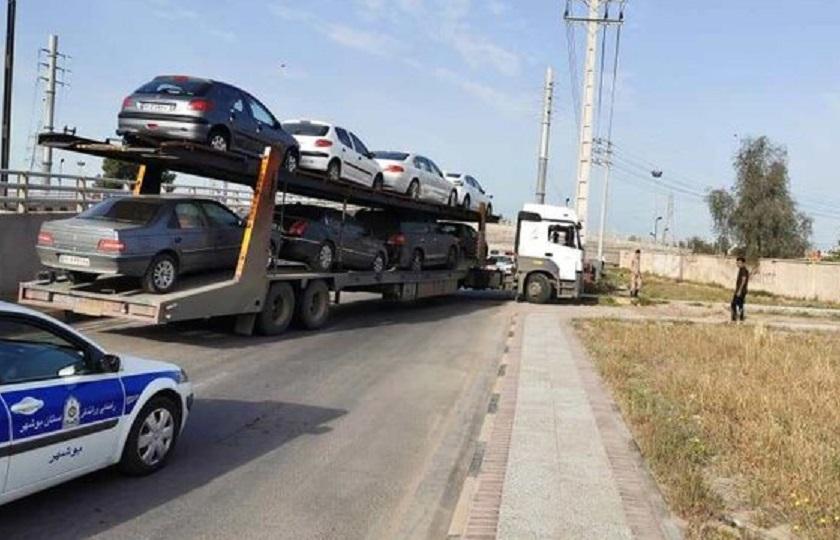 توقیف یک دستگاه تریلر با 8 خودرو پلاک تهران
