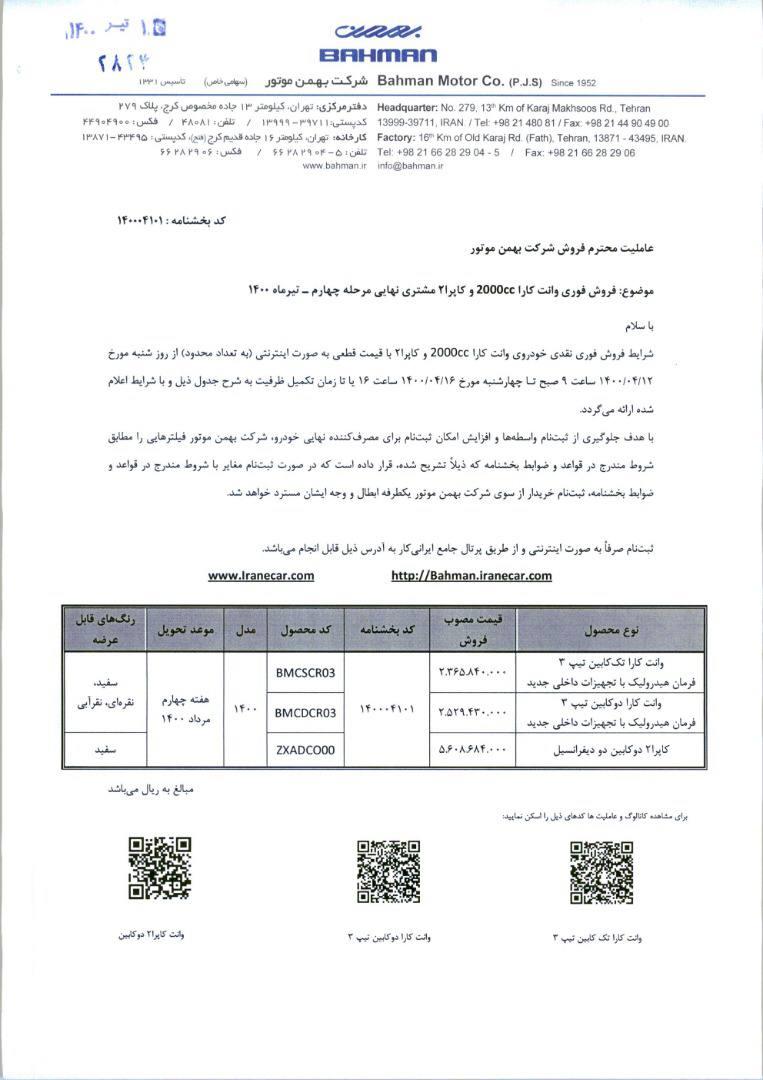 فروش فوری کاپرا 2 / تیر 1400