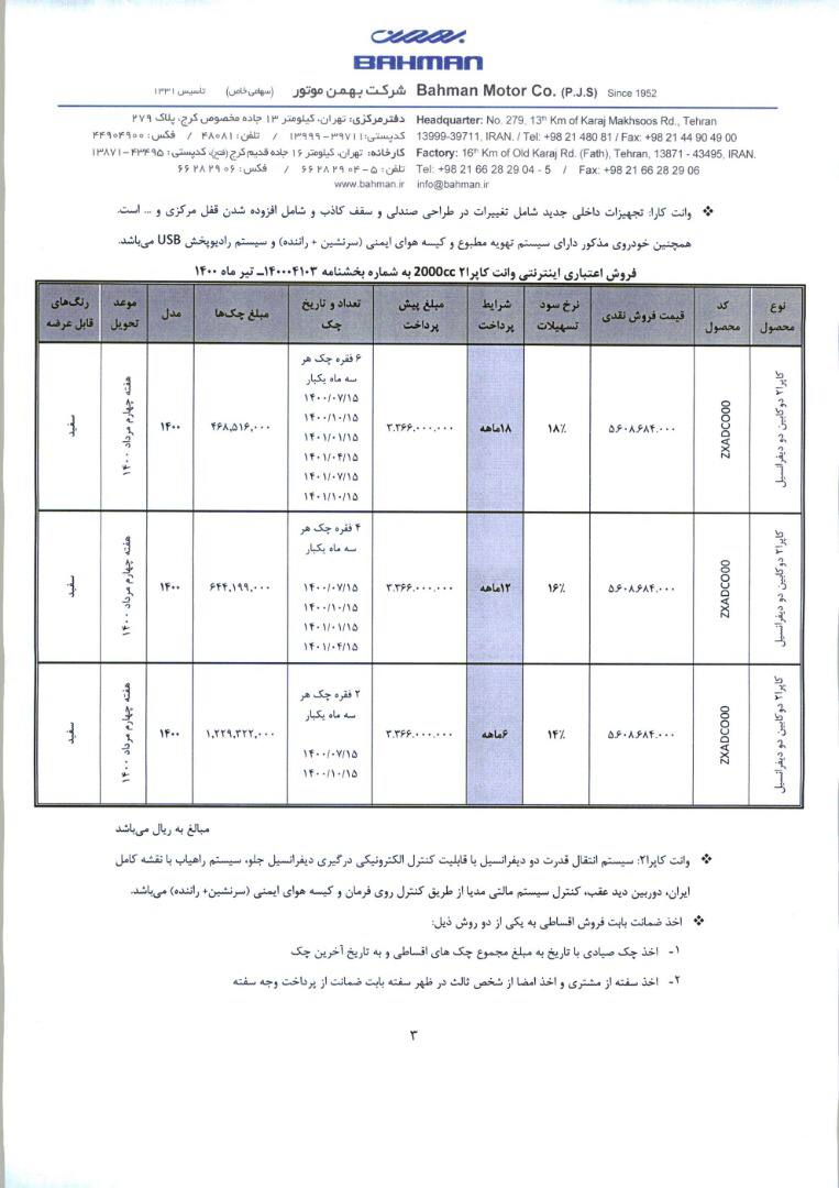 فروش اقساطی کاپرا 2 / تیر 1400