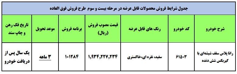 شرایط فروش رانا پلاس سقف شیشه ای / مهر 1400